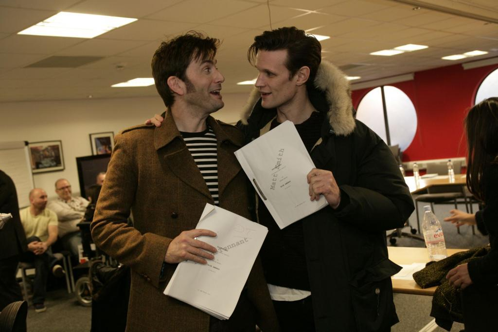 Smith and Tennant at 50th Anniversary Rehearsal. I havent had much Who here in some time, mainly because you guys dont me me to get you excited.  We have started season 7.5, and are building to the 50th Anniversary spectacular which, as EVERYONE KNOWS will feature a return of Tennant and Piper among others.  Its, exciting, I know, Im there with you.   Yet for all the 50th Anniversary buzz, thats all its really been.  Just buzz.  But here, we have concrete, photographic proof that THIS IS REALLY HAPPENING!  These are great times to be be alive people… great times. Doctor Who News
