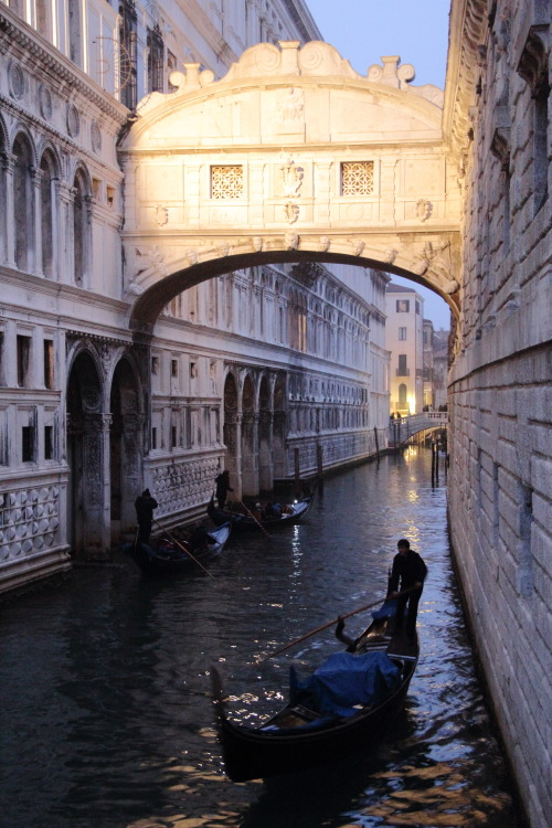 Bridge of sighs capturing the setting sun.