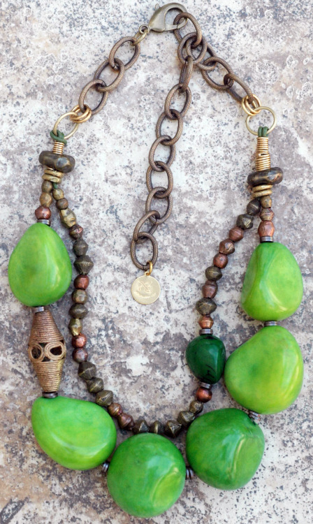 Green Tagua Necklace:Bold and Organic Green Tagua Nut and African Brass Statement Necklace $225 Click to buy
