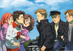 chris-pickle:  castiels-fluffy-feathers:  Grease!Destiel AU  omfg this is amazing !! <3