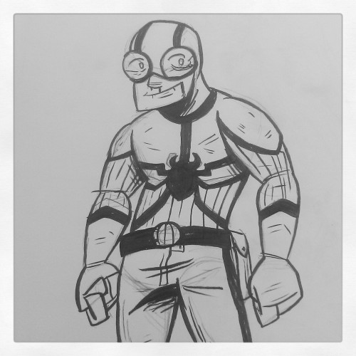 Blue Beetle sketch/redesign for a comic idea I had that was essentially TED KORD: SCIENCE ADVENTURER…  And then he came out looking like Venom. Balls.