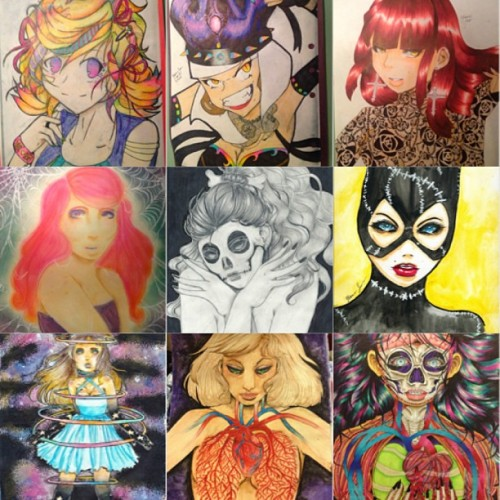 #tbt ! This is a collection of my favorite drawings from the past four years (i think). So many different styles and mediums!! #colorpencil #pastel #watercolors #marker