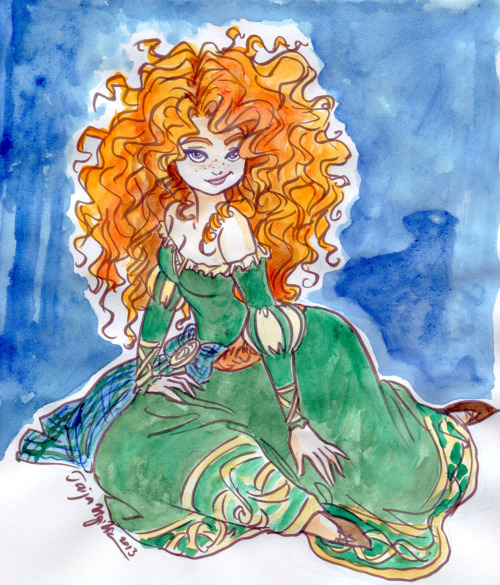 taijavigilia:  Recently I've come across some official Merida images for the Disney Princess lineup .  Currently looks like she'll get the same sparkle treatment as the others with added off-the-shoulder dress and some mascara.  Another sexed-up Disney princess then.  Mhmm.  They're sort of a guilty pleasure though, as an adult I can't help but enjoy and draw pictures of beautiful people since you know, there's that whole psychological thing that seeing sexy people makes you feel sexy too (and it really doesn't matter if they are imaginary princesses or tabloid celebrities because in a way they're all on that same fantasy Hollywood plane, I'm as likely ever to meet Angelina Jolie as Merida) and on other hand the mum in me is screaming that there is no bloody way I will ever buy any of that merchandise to my kids because they don't need any more appearance-obsessed pressures added to their future angsty teenage years.  /headdesk Watercolour and brush pen sketch.
