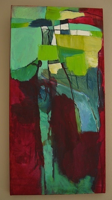 "Annica Damico Abstract Vertical II, oil paint on canvas.  24""x12"""