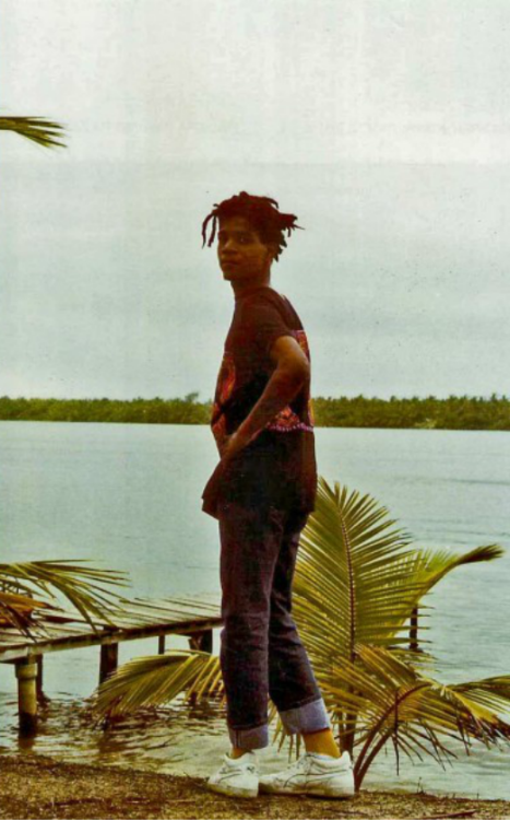 "lurkdat:  Monique Le Houelleur ""Jean-Michel Basquiat Assinie,"" October 1986 Everyone wanna be a 'sneaker-head' but no one values the beauty and simplicity of owning just one pair of dirty white sneakers. If you never know, then you never will. Dem crack whites."