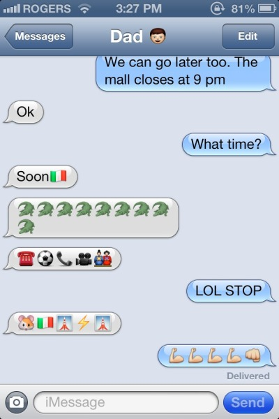 My dad discovered emojis on his iPhone..