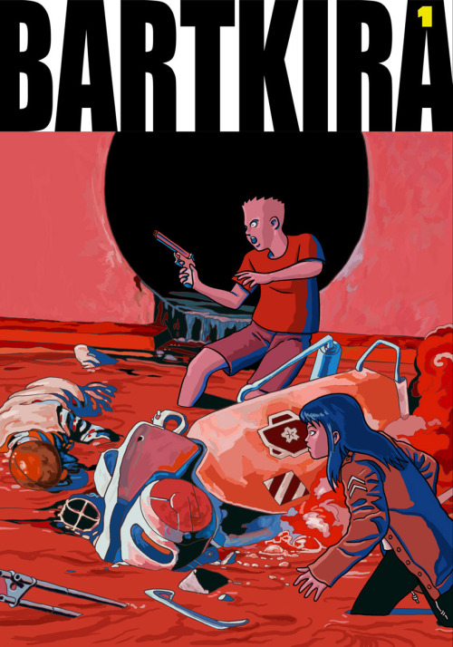 BARTKIRA covers 1-6: COMPLETE! As soon as I heard about the BARTKIRA idea, I jumped at the chance to contribute pages. The editors told me that the 2,200 pages had already been assigned to 400+ artists (within days!), but encouraged me to try my hand at the covers. I drew the Vol. 1 cover as an experiment, but got such a positive response that I went ahead and obsessively drew Volumes 2-6 without much sleep in the past 2 weeks. Blatantly copying Katsuhiro Otomo's covers was a fun and enlightening exercise. That being said, apologies to Otomo and The Simpsons people for all the liberties I took with their creations! I'm excited to follow all the new Bartkira artwork as they trickle in from the many talented artists/fans involved.