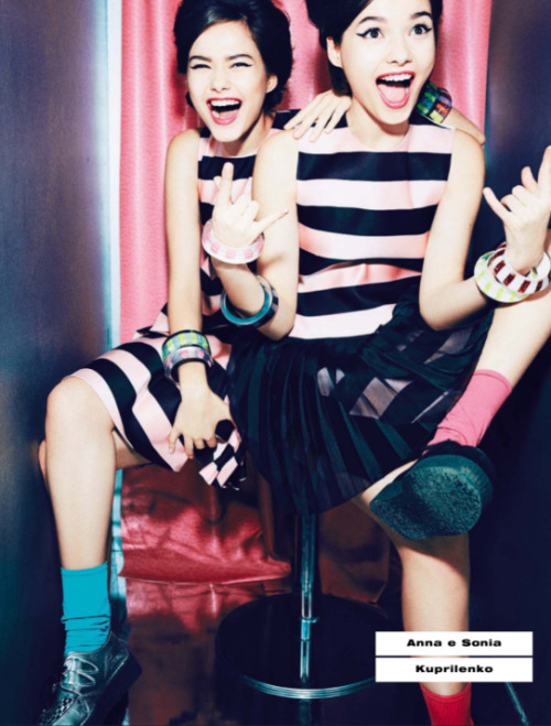 journaldelamode:  Anna Kuprilenko and Sonia Kuprilenko by Ellen Von Unwerth for Vogue Italia April 2013