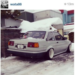 Hella #low and hella #snow. #AE86 #Corolla #Levin #coupe! @wata86!!! #slammed #lowerit #hachiroku  (at www.86FEST.com)