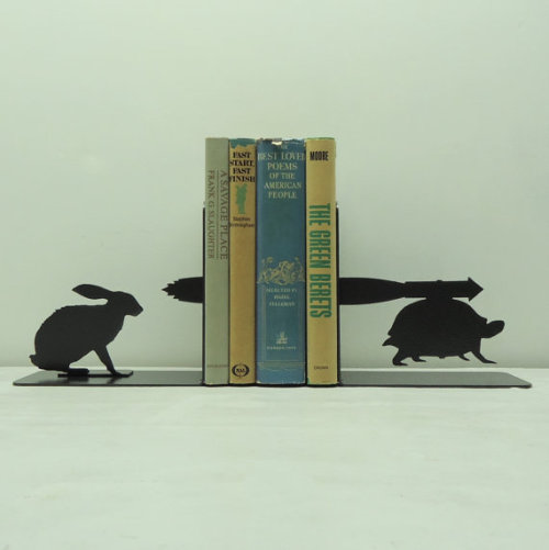 knobcreekmetalarts:  Tortoise and Hare Bookends