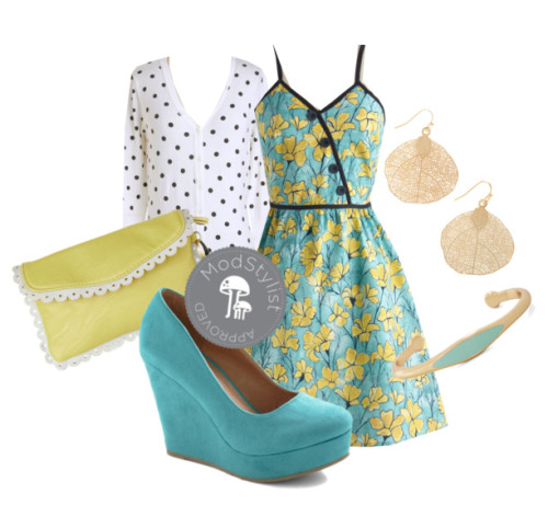 modcloth:  I'm loving this color combination! Soft yellow and sky blue remind me of the spring sky. :) Check out our Spring Trends category for more lovely colors! <3 Amy, ModStylist Need styling suggestions, trend tips, or dress details? Ask a ModStylist and your question might be featured on our feed