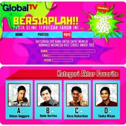 Guys!! Dimas Anggara masuk nominasi di Indonesia Kids Choice Awards 2013 kategori Aktor Favorit. Please VOTE @dimsanggara! Ketik KCA (spasi) 3A kirim ke 6288. Atau Klik » http://globaltv.co.id/ikca/startvote (vote via website dibuka mulai hari Minggu 28 April 2013) Thank you :) #dimasanggara #dimsanggara #dimskilovers
