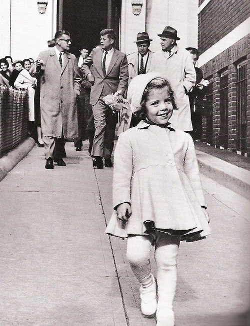 jackandjackie:  Miss Caroline Kennedy has the president carry her doll… :D