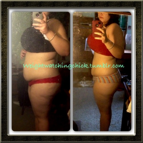 weightwatchingchick:  Left: 215 Right: 181.2 Loss: 33.8lbs Still have a long way to go! All healthy eating (well, most of the time! Lol) through weight watchers, and adding some exercise. And when I say adding, I mean taking my dog for a long walk, it gets me up and moving but it doesn't seem like I am working out. Which makes me like it! :)