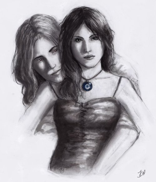 fictionalfanart:  Rose and Dimitri from the Vampire Academy series by Richelle Mead