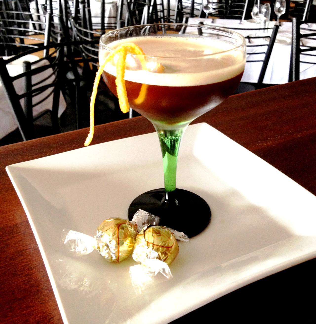 Jalisco Espresso Glass: CoupeGarnish: Orange ZestPair: White Lindt chocolate balls Ingredients: 50ml Don Julio Reposado 25ml Agave Necter 30ml Espresso Dash of Fee brothers orange bitters Method: Add all ingredients into a mixing glass with ice and shake vigorously. Fine strain into a chilled coupe glass and garnish with an orange zest. Pair on a white dish with white chocolate.