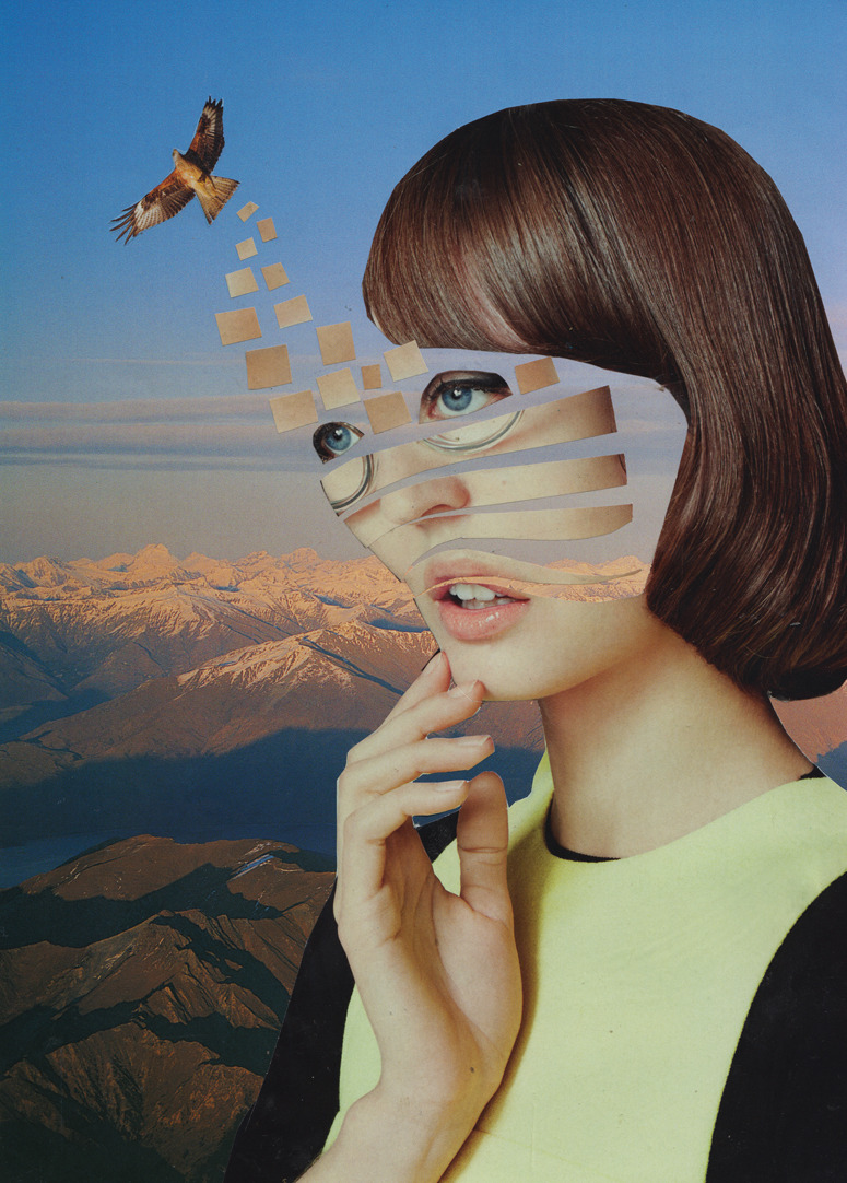 "collartge:  ""Lost inside the fragments of a dream"" Paper Collage by Dilcia Giron  http://collartge.tumblr.com/"