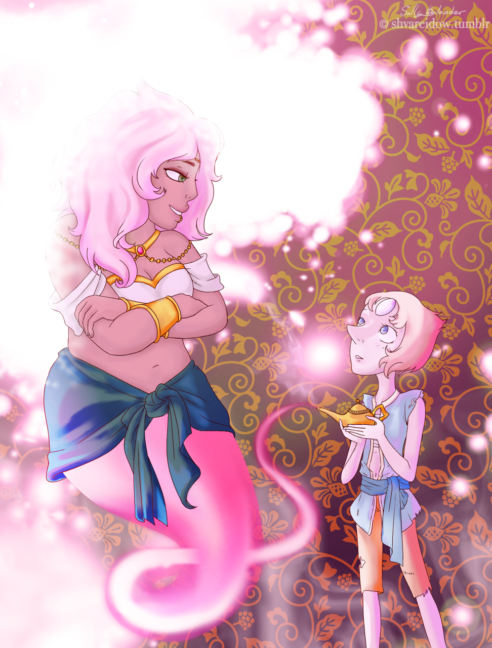 Pearl and Mystery Girl Genie AU for @aut2imagineart Thank you for your request, and I'm sorry for the long wait.