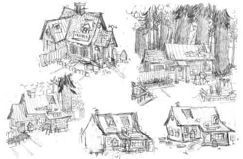 gravityfalls:  First sketches of the Mystery Shack.