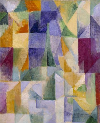 "Robert Delaunay: Windows Open Simultaneously (First Part, Third Motif) [Fenêtres ouvertes simultanément (1ère partie, 3ème motif)], 1912 - Oil on canvas (Tate Gallery) ""Delaunay painted a large number of works centred on the image of the Eiffel Tower as the symbol of modern Paris. The rising form of the tower can just be made out amidst the planes of colour. He took his inspiration from a photographic postcard showing a view of the tower looking over the rooftops of the city. The buildings are framed by the suggestion of an open window. Delaunay's pure bright colours evoke intense light and suggest the dynamic interaction experienced in the city."" (Tate display caption)"