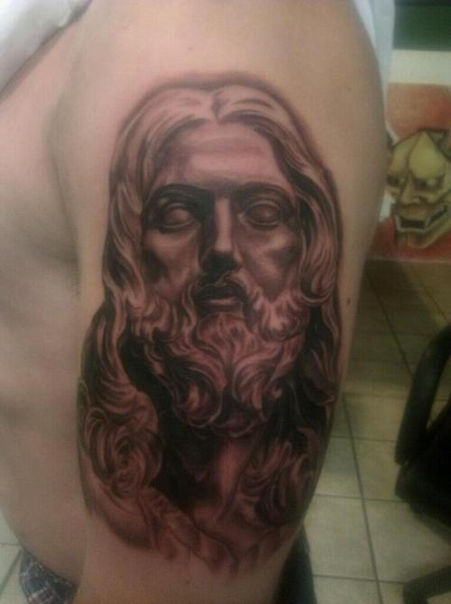 A tattoo I did this week of a JESUS statue by the great Bernini