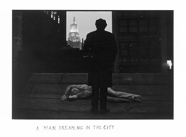 blue-voids:  Duane Michals - A Man Dreaming in the City, 1969