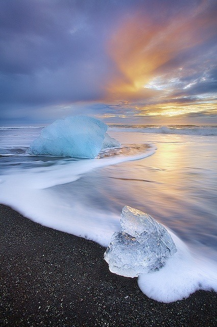 myfuturememories:  Iceland, ice, black sand, sunset