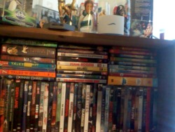This is my very humble horror collection. I just added a couple new DVDs today. The middle column is Tarantino, the one to the right of that is Family Guy and the column to the left plus that one solid row is horror. This isn't the only stuff I have seen, just to let you know. I have quite the dependency on Netflix, but I plan on adding the actual movies to my collection. I just wish some of it was available in the US.And yes those are original The Empire Strikes Back drinking glasses on top of the book shelf along with the original VHS (1992) released Star Wars films IV-VI as they were originally released in theaters.  (No CGI! Yes!!!)But also I am leaving for Basic Training tomorrow so for the moment my purchases are limited. Have any questions about the collection feel free to ask. I swear I am peachy.