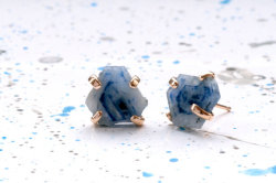 Handmade Ethical Rough Sapphire Slice Stud Earrings by BarioNeal.