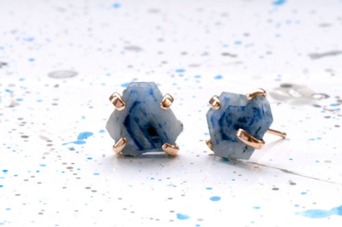 etsy:  Handmade Ethical Rough Sapphire Slice Stud Earrings by BarioNeal.