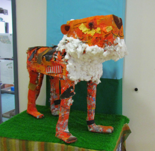 Tiger made by my nursery class from recycled materials for a competition called 'Tigers Are Not Rubbish'.