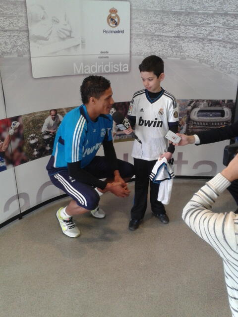 Varane being interviewed by an #HalaMadrid prize winner this am… (Rhiannon Jones)