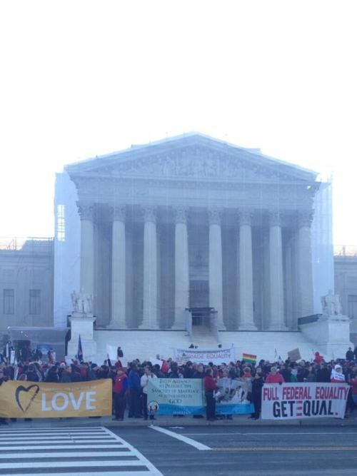 The scene outside the Supreme Court this morning. A historic day in the fight for equality!