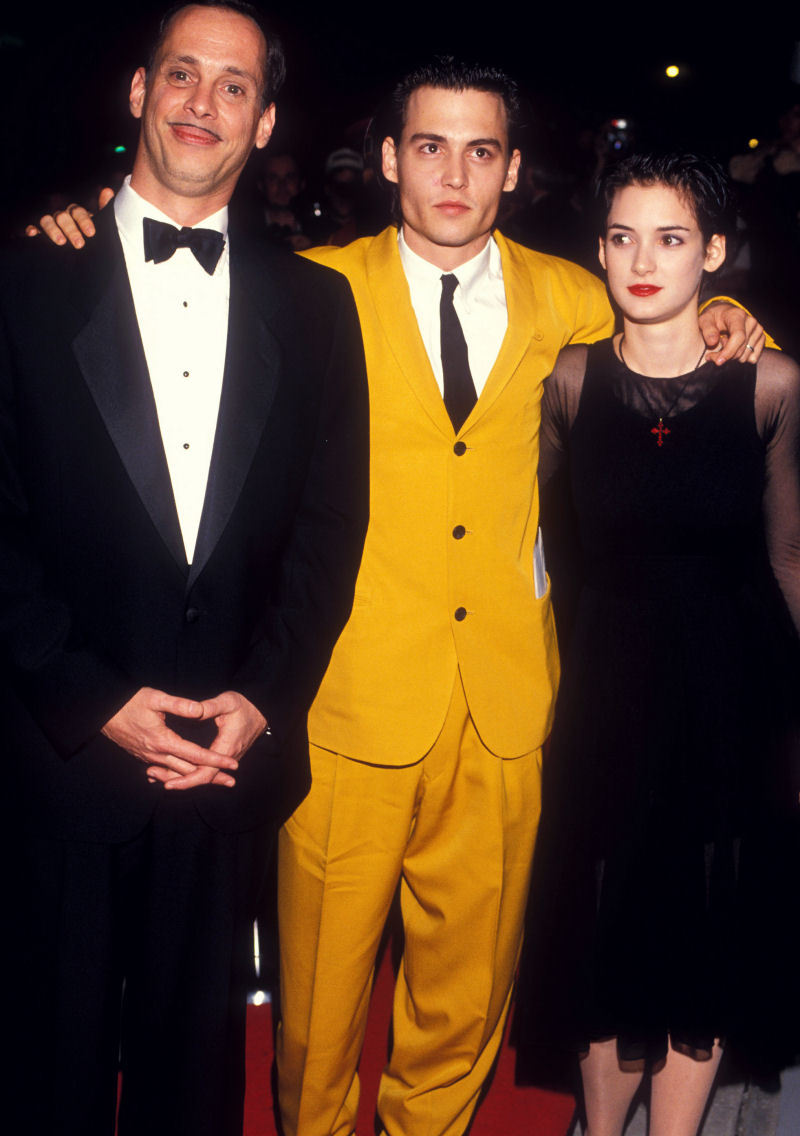 mariondavies:  John Waters, Johnny Depp and Winona Ryder at the Cry Baby premiere, 1990