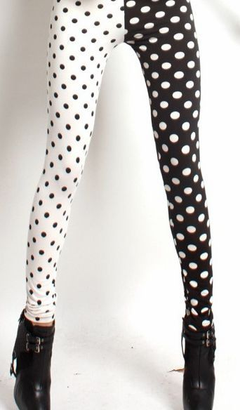 thunder-bunny:  Black & White Polka Dot Leggings $12  Want
