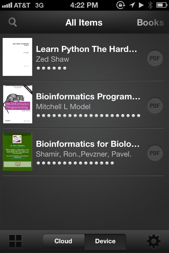My book recommendations, the Kindle app edition.