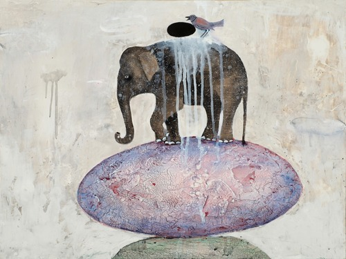 "Alexandra Eldridge, Spiritual Realities, 2012 Which came first the elephant or the egg? I like obstacles. They tell on me. Study your obstacles – what tale do they tell about your thinking? Elephantine obstacles require a great force of self to move, but many are completely mind made up. In this totem, the elephant balances on a lavender egg. The elephant, remover of obstacles – is at once young and old – timeless leathered skin defined by burls in the underlying wood. In motion. Maybe she was laid off – again. Maybe he holds divorce papers – again. Maybe she heads a faltering company or he's losing a major client. These two-ton obstacles to happiness force us into motion. This elephant puts one uneasy foot in front of the other and though vulnerable, balances between hope and despair. She will make this egg take her where she wants to go. Perhaps finding (while plodding) a new direction. We don't know how, but she will. The bird, however, is stuck. Staring down a small black egg entirely avian made. Some dark ritualized judgement grounds her from flying free. A perceived tragic flaw, ""I'm unlovable,"" or ""I'll never reach my goals."" ""I'll always be _________. ""I'm the worst  ________.""  Her wings pinned back.  Cawing complaint. But I see potential in this obstacle egg. Potential to find the thinking flaw.  Black egg thoughts have a shady ""all-or-nothing"" ultimatum-ish type character  – a dead give away. Hold on! I'm not the *worst* parent in the world. I messed up this time, but next time I'll handle it differently. (deep breath) Now we flex our wings. Now a dark egg cracks. Opens up to new and brightly life."