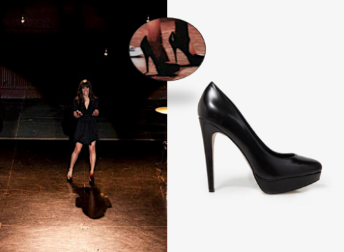 Rachel's Black Pumps The 'Original' Glee club-bers are back to audition with Rachel, but she's not wearing red. Faux Leather Platform Pumps $29.80