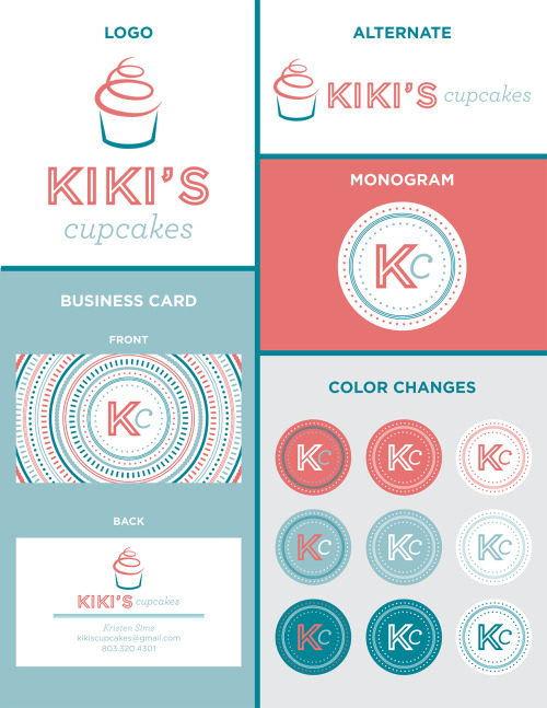 Another branding sheet.  This one is for my sister's delicious little business on the side.  I will say that it is a lot easier to pick out colors and typefaces for someone when you've known them your whole life!