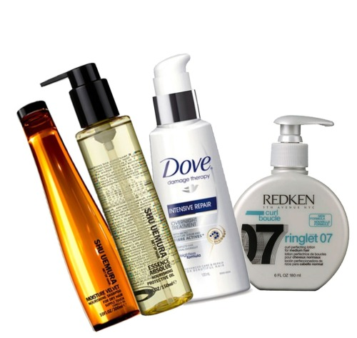 My hair has been loving these four products lately, I came across all of them except for the Dove Damage Therapy Intense Repair Overnight Treatment when I was getting my hair done at the House of Rush salon in Piccadilly where my hairstylist created a curly style for me by using products that worked with and complemented the natural texture of my hair. The Shu Ueumura Moisture Velvet Nourishing Shampoo is one of the most moisturising shampoos I've ever used and that sounds rather oxymoronic because moisture and shampoo just do not go hand in hand, but it does in this instance! When you're done shampooing and conditioning the hair, the Ringlet 07 Curl Perfector from Redken helps to define your curls, give bounce and shine without any crunchiness which can be all too common with products for curly hair. Then when you're done a spritz of the Shu Ueumura Nourishing Protecting Oil will finish off a style by giving it some shine thanks to it being infused with camelia oil. It's also very fragrant so it doubles up as a hair perfume too!