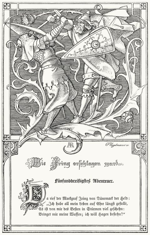 Illustration for the Song of the Nibelungs (1840).  A. Rethel, from Alfred Rethel; des Meisters Werke (Alfred Rethel, the master works), by Josef Ponten, Stuttgard & Leipzig, 1911.  (Source: archive.org)
