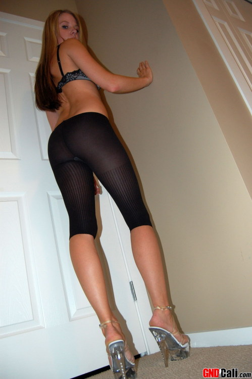 Girlfriend Cali poses in tights on sexy high heels. She has beautiful legs and ass! If you want to see more high-res photos and videos with Cali you can get her homepage here. Also watch all 12 photos from this set at alexaporn.com for free.