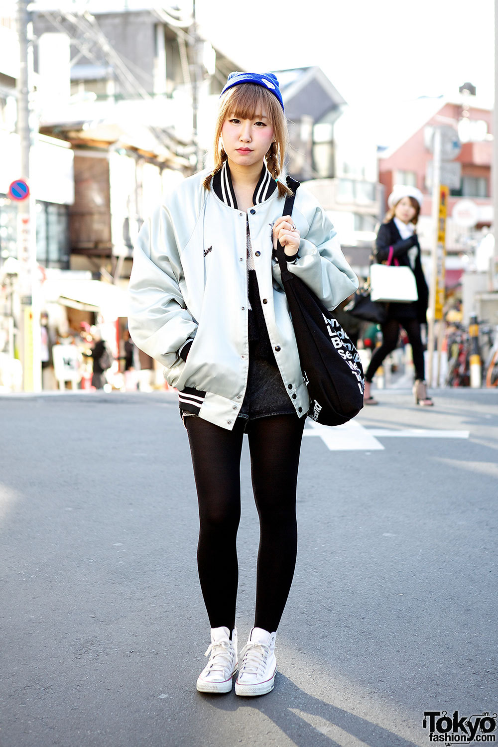 Oversized jacket, w/ Nadia Harajuku top and Converse sneakers.