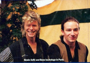 David Bowie and Bono, 1987.