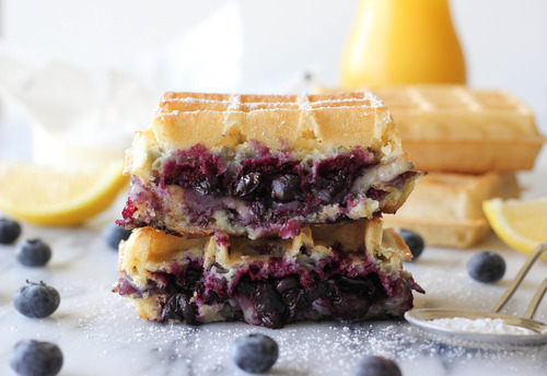 Brie and Blueberry Waffle Grilled Cheese by Damn Delicious