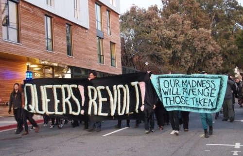 delicateheresy:  Berkeley anti-cop march for Kayla Moore // 3/12/13  Queers! Revolt! && Our Madness Will Avenge Those Taken