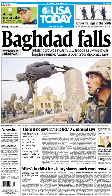 usatoday:  10 years ago today, U.S. Marines toppled a large statue of Saddam Hussein in Baghdad, a gesture symbolizing the end of his rule. Here's our front page from the next day. Also from our archive: Marine in historic photo identified — http://usat.ly/YfVjU9