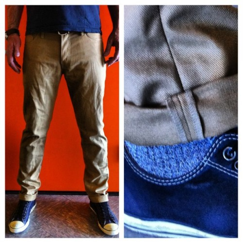 Our Ladbroke Grove slim tapered now available in khaki & navy 10.8 oz Brisbane Moss left hand twill.  Contact us at info at tellason dot com if interested #madeinsanfrancisco