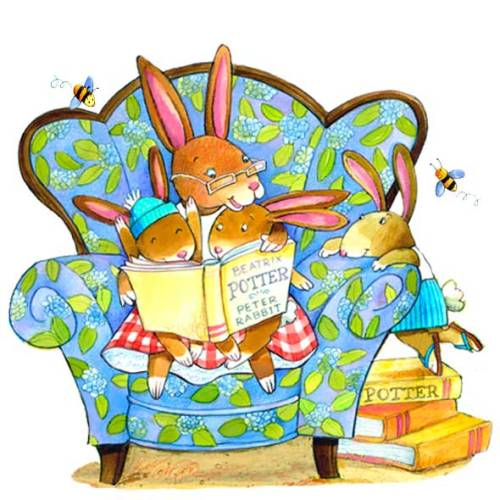 Reading Beatrix Potter / Leyendo a Beatrix Potter (ilustración de Deborah Melmon)