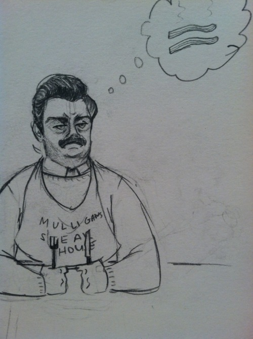 rachelannehdraws:  Swan Song, how you livin?! Quick Ron Swanson to warm myself up except its clear from the laziness of his body/hands that this was more of a cool down.